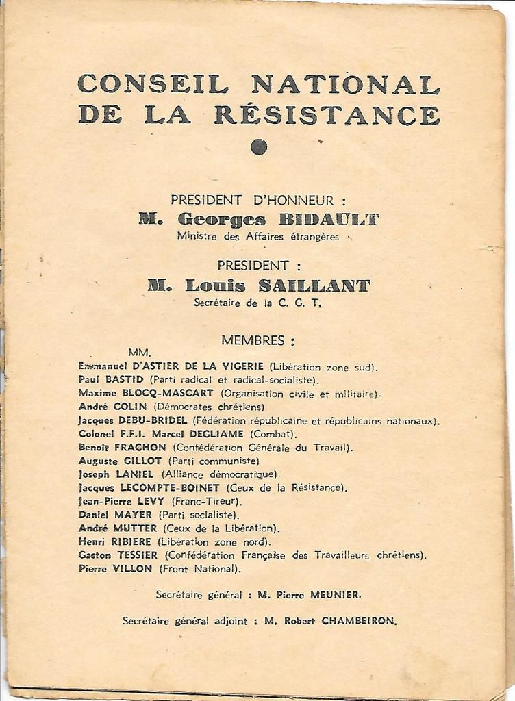 Conseil National de la Résistance: l'actualité des exigences de démocratie sociale qu'il porte, l'actualité de sa démolition par la grande bourgeoisie et les politiques qui servent ses intérêts