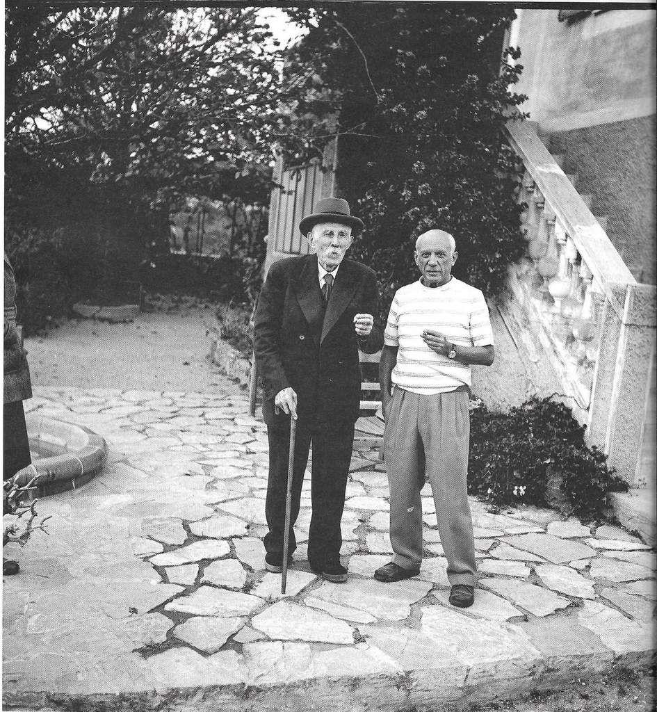 Picasso et Marcel Cachin, directeur de l'Humanité, photographiés par André Villers en 1953 (photo d'archives - Hors série l'Humanité, La Révolution Picasso, mars 2013)