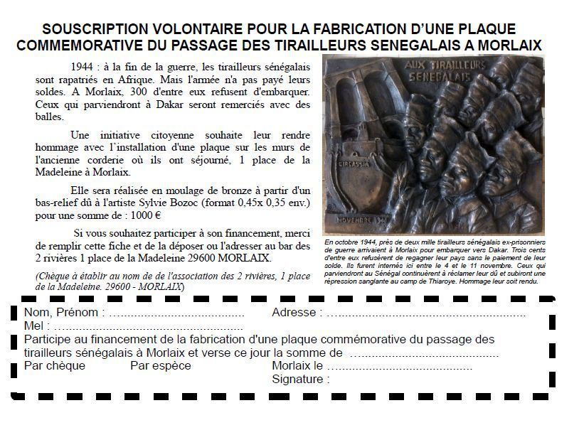 Une plaque sur l'ancienne corderie de la Madeleine (brasserie Coreff ensuite) pour rendre hommage aux Tirailleurs Sénégalais ayant séjourné à Morlaix en 1944 et aux martyrs de Thiaroye: participez à la souscription citoyenne!