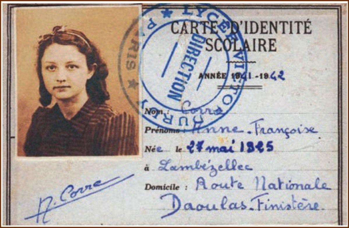 Fonds ANACR (Association Nationale des Amis des Combattants de la Résistance) Anne Corre: la jeune résistante Anne Corre,morte en camp de concentration(Oranienburg) à 20 ans,en 1945 ,ayant grandi entre Daoulas et Plougastel