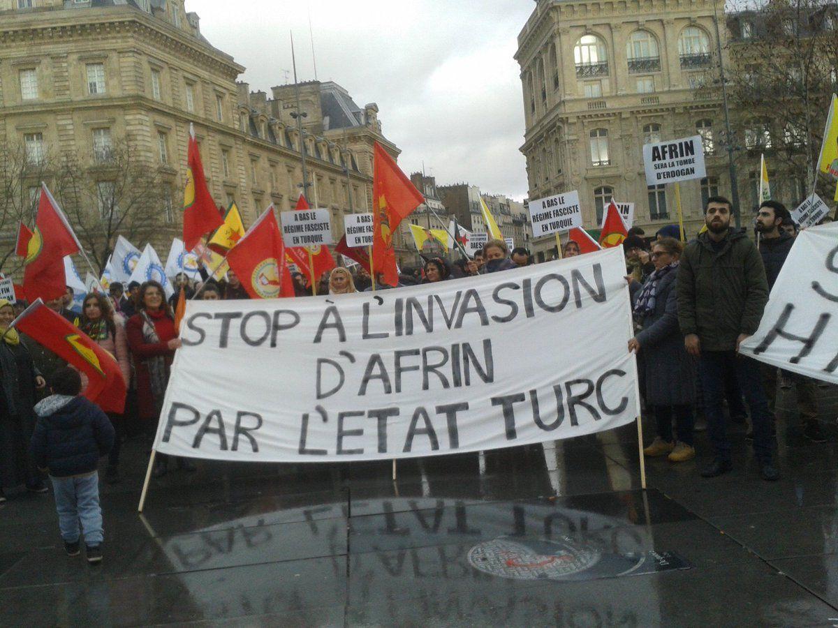 Appel au rassemblement pour dire Stop Erdogan! Stop aux massacres des Kurdes à Afrin! Rassemblement samedi 3 février à 12h au Kiosque de Morlaix et à 17h au Cheval Blanc à Plourin-les-Morlaix