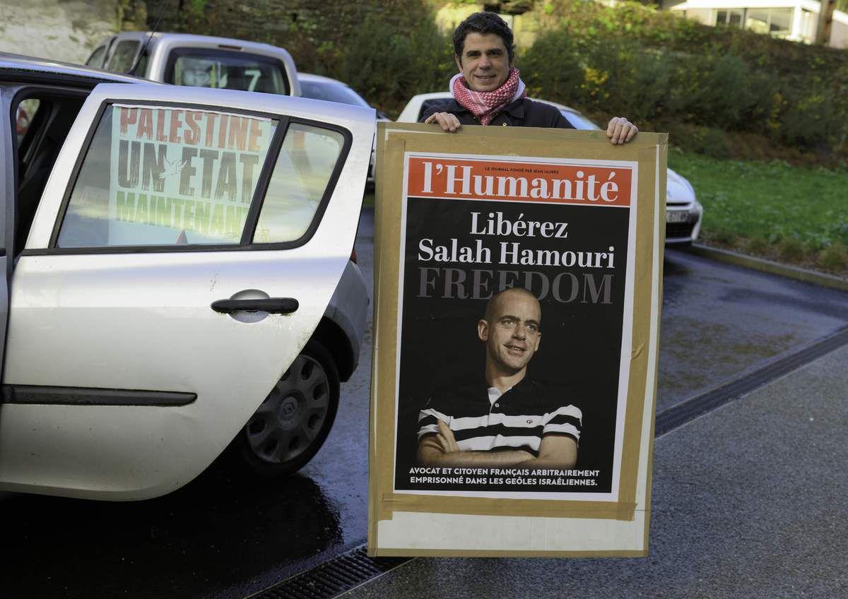 Action pour les prisonniers politiques palestiniens du samedi 3 février à Morlaix (photos de Jean-Marc Nayet)