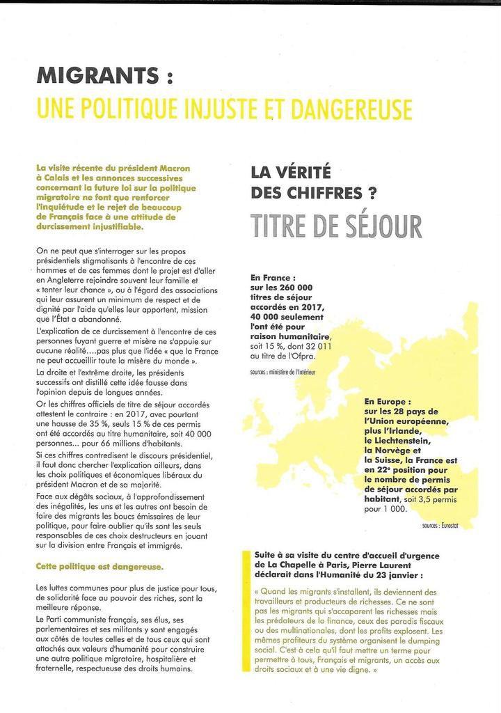 Migrants: une politique injuste et dangereuse (tract du PCF, février 2018)