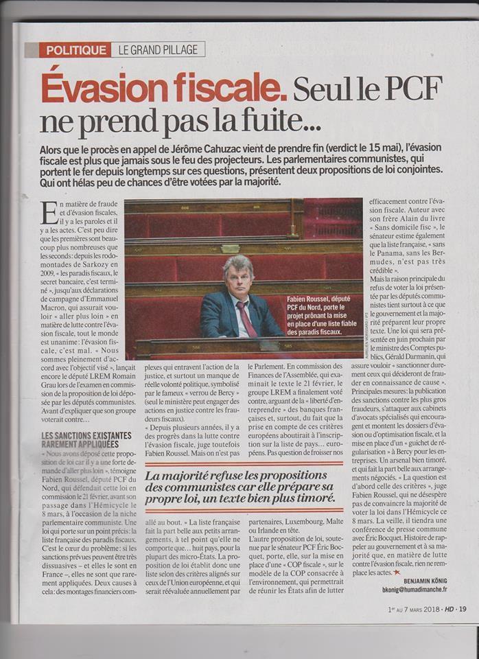 Pas vu à la télé: Evasion fiscale: seul le PCF ne prend pas la fuite (Humanité Dimanche, 1er mars)