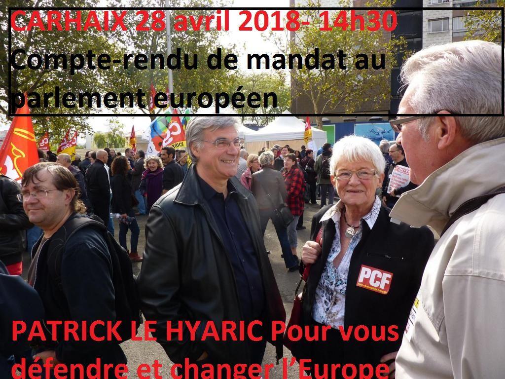 Et nos frères pourtant! Chassez ce réfugié ... que je ne saurais voir - par Patrick Le Hyaric: le député européen PCF fera un compte rendu de son mandat européen à Carhaix le 28 avril 2018