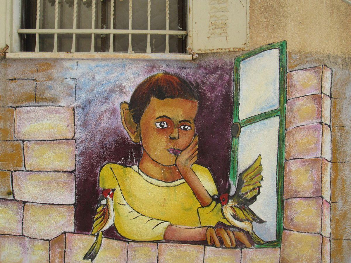 fresque dans un camp de réfugiés à Béthléem