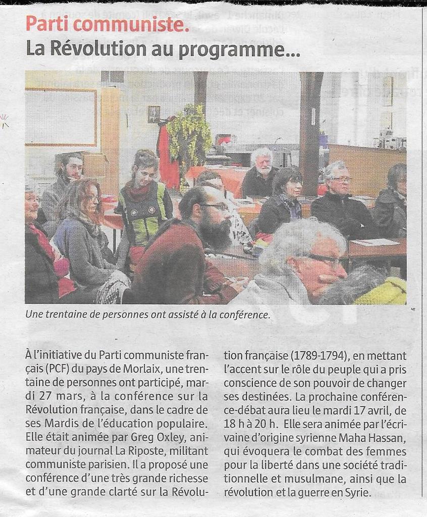 """Article du Télégramme, pages Morlaix, sur la conférence de Greg Oxley sur la Révolution Française (1789-1794) le mardi 26 mars, en présence de 34 personnes, dont 15 non communistes: """"Parti Communiste, la Révolution au programme""""."""