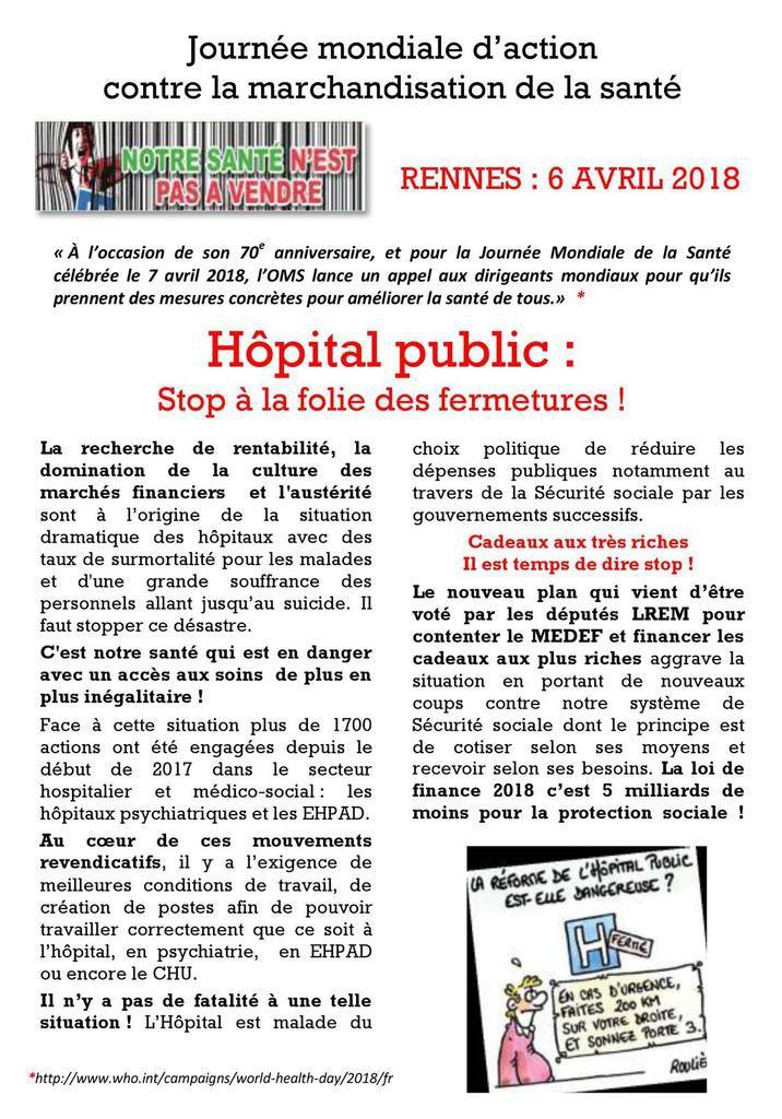 Hôpital public, stop à la folie des fermetures - Rassemblement du 6 avril à Rennes devant l'ARS: tract du PCF Bretagne