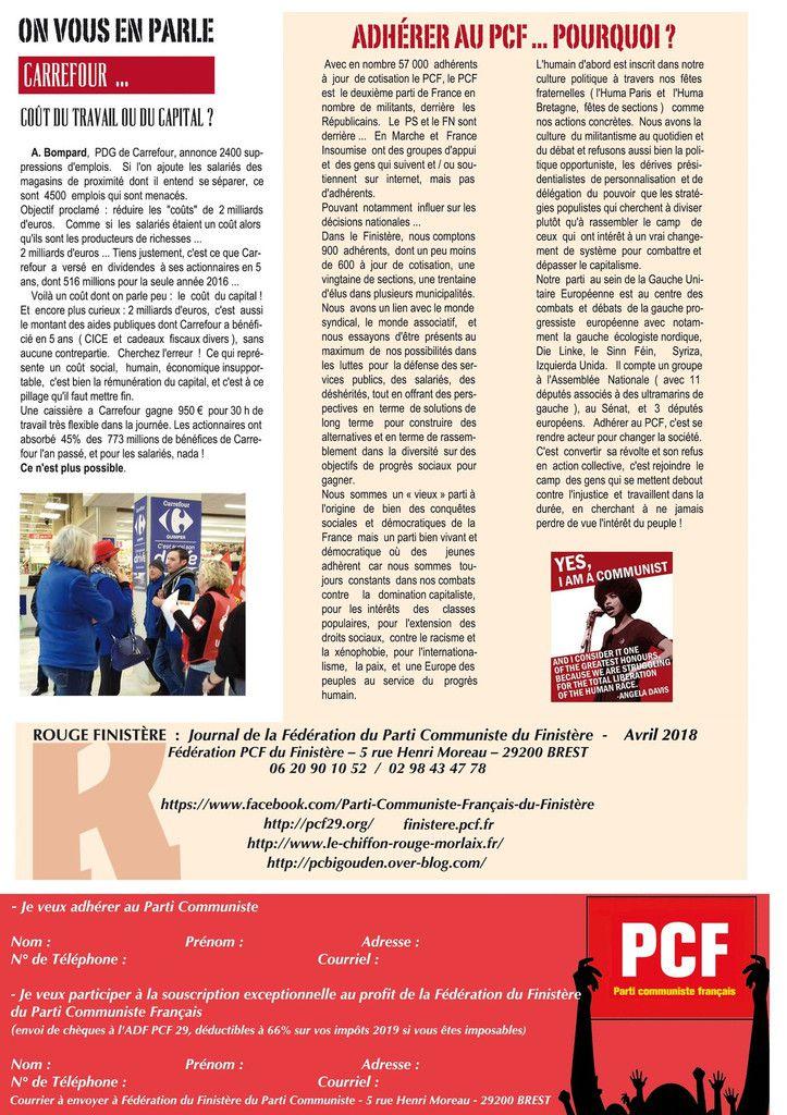 Rouge Finistère n°2 - avril 2018: le journal départemental du PCF distribué à 30 000 exemplaires dans le Finistère à partir de la semaine prochaine