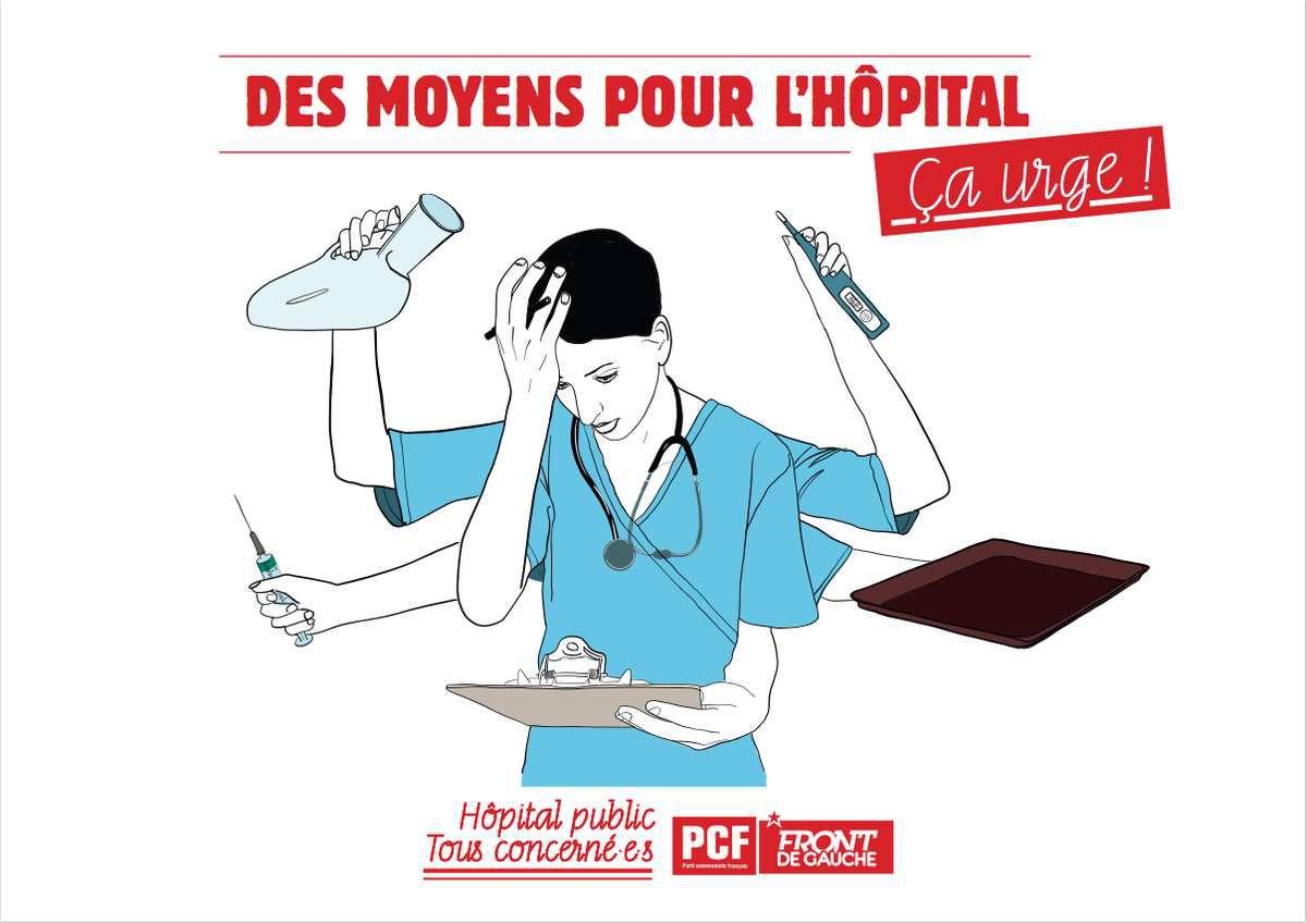 Les parlementaires communistes Christine Prunaud et Dominique Watrin au chevet de l'hôpital de Morlaix le jeudi 14 juin