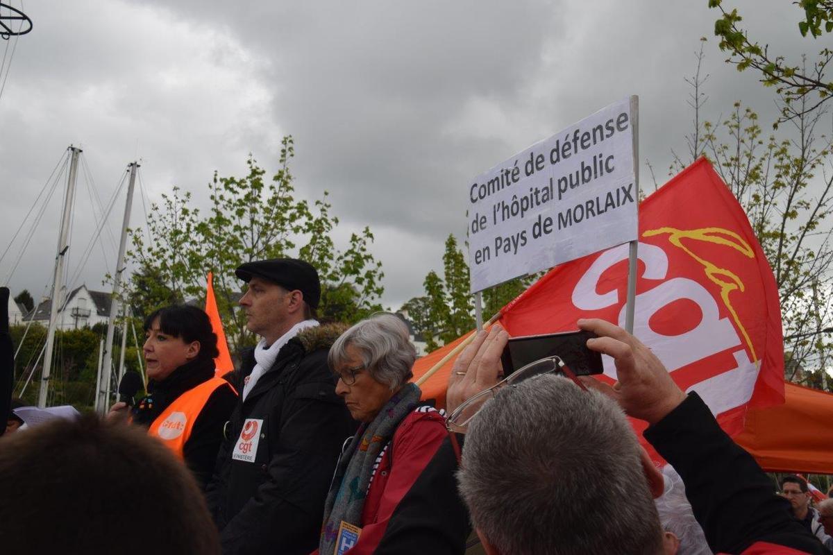 manifestation pour la défense de la cardiologie à l'hôpital de Morlaix, 28 avril 2018, photo Pierre-Yvon Boisnard