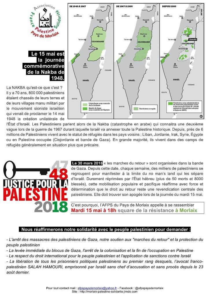 15 mai: l'AFPS pays de Morlaix appelle à se rassembler pour les droits bafoués des Palestiniens square de la résistance à Morlaix, 18h