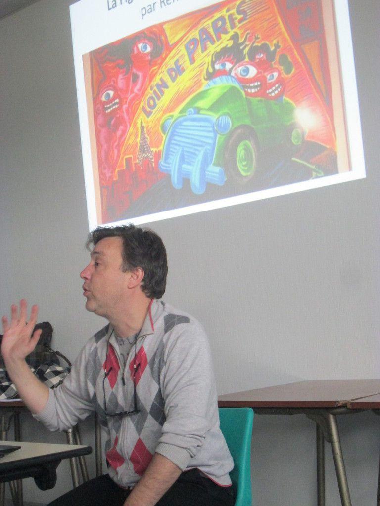 Renaud Faroux conférence sur l'exposition Libres Figurations à Landerneau