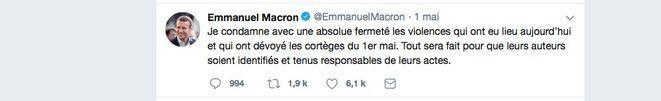 La réaction d'Emmanuel Macron après les incidents survenus lors de la manifestation du 1er mai. © DR