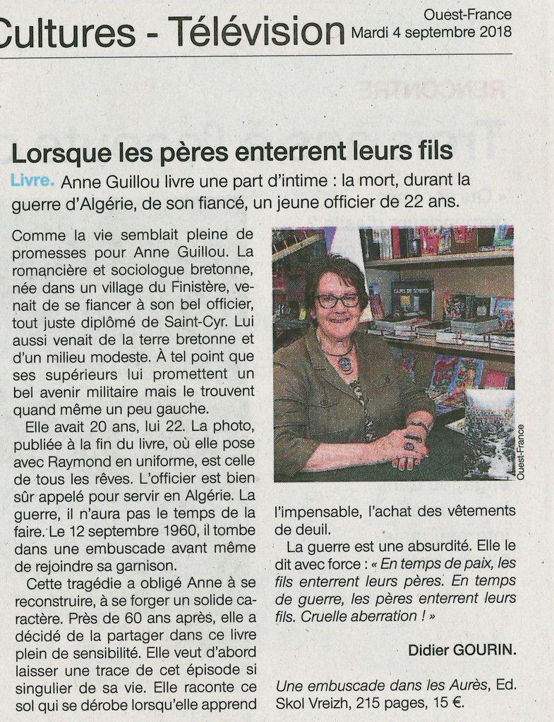 Anne Guillou, Une embuscade dans les Aurès - article de Didier Gourin dans Ouest-France