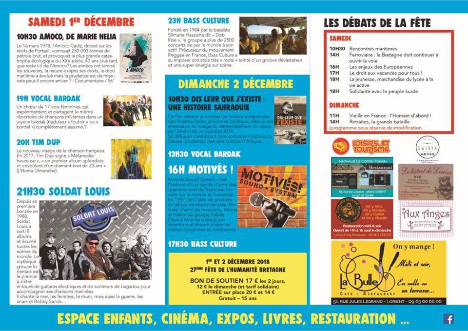 Fête de l'Humanité Bretagne du 1er et 2 décembre 2018 - demandez le flyer et le programme!