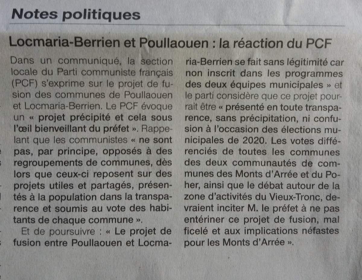 Communiqué section PCF Huelgoat-Carhaix - Non au projet de fusion précipité des communes de Poullaouen et Locmaria-Berrien