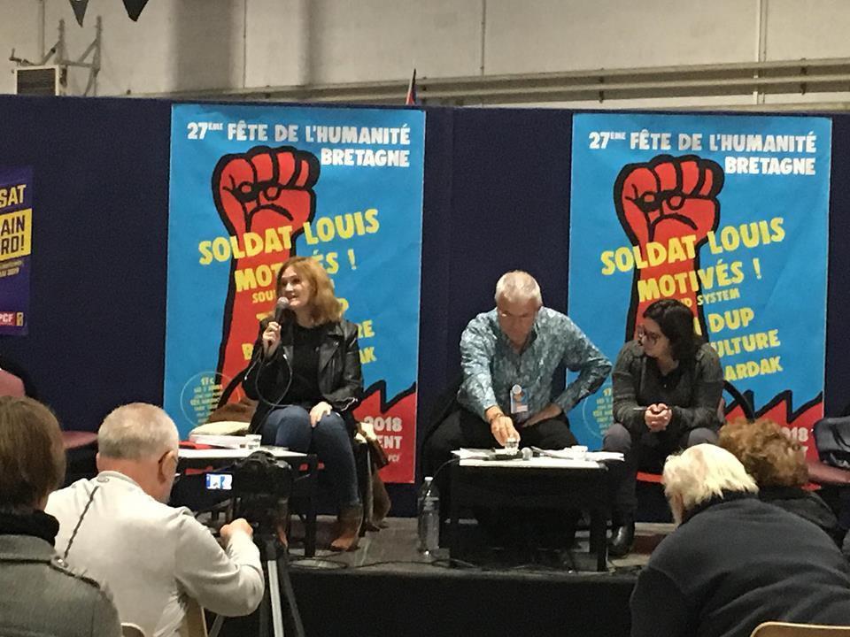 débat sur l'Europe avec la députée européenne Marie-Pierre Vieu, Philippe Jumeau, Hulliya Turan (photo Caro Berardan)