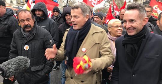 Ian Brossat, Philippe Martinez, et Fabien Roussel au coude-à-coude à la manif syndicale du 1er décembre 2018 à Paris