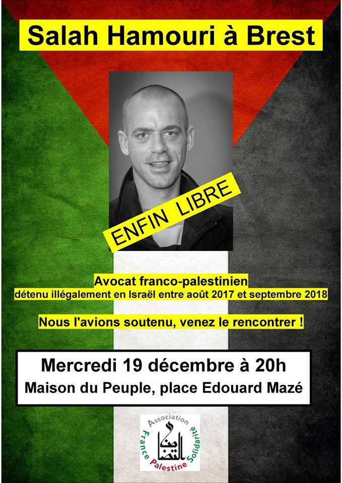 Salah Hamouri dans le Finistère à nouveau, à Brest et Carhaix le 19 décembre et à Quimper le 20 décembre - communiqué AFPS Morlaix