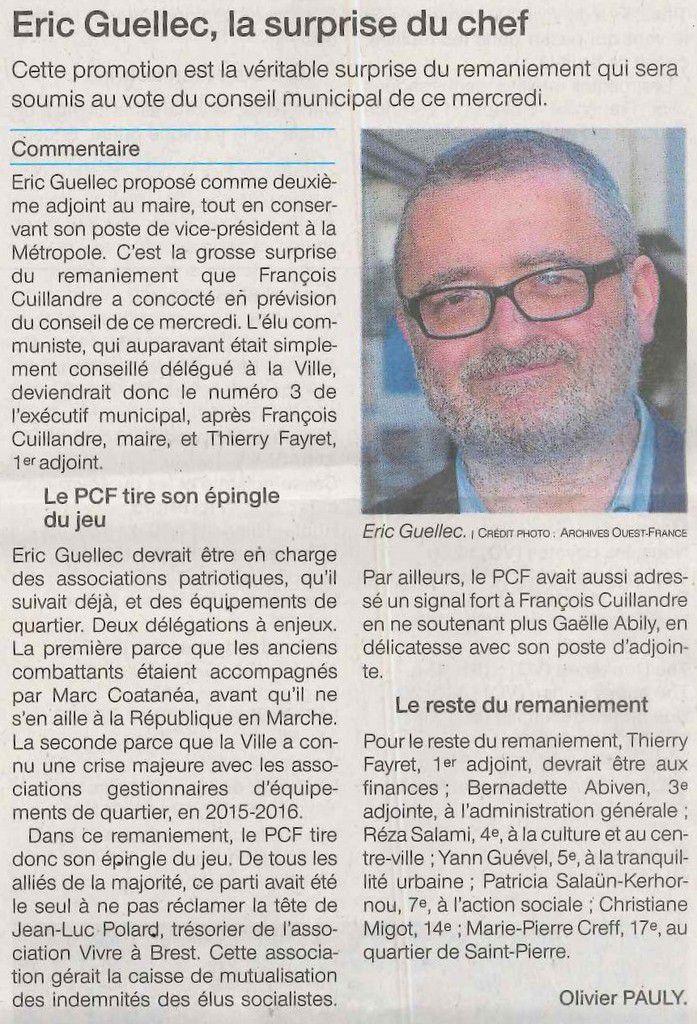 Article Olivier Pauly - Ouest-France, 19 décembre 2018