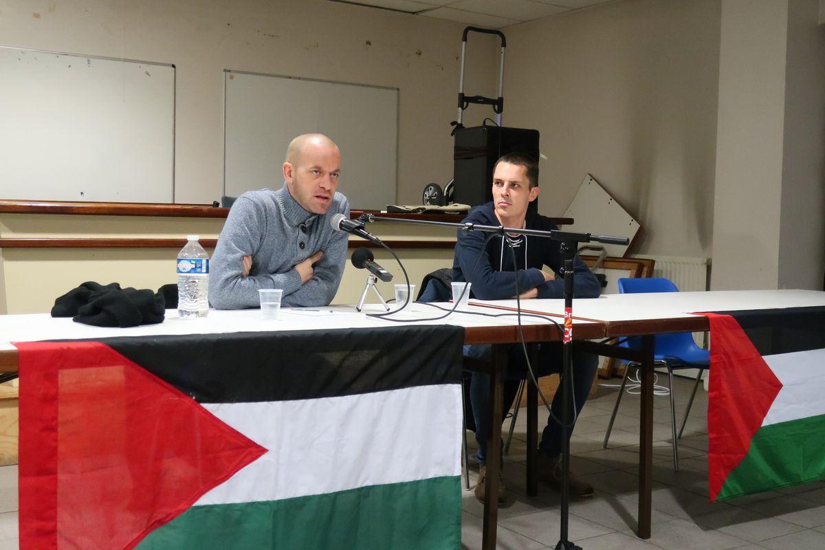 Salah Hamouri à Brest ce mercredi 19 décembre 2018, à la Maison du Peuple (photos Ismaël Dupont)