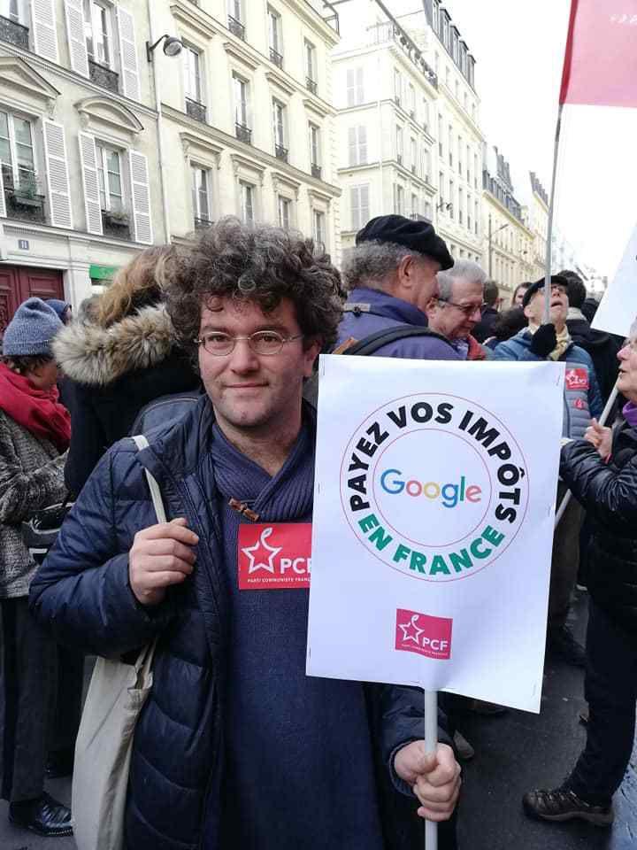 Avec Fabien Roussel, les communistes mobilisés devant Google France pour la justice fiscale, le prélèvement à la source des multinationales qui font des bénéfices