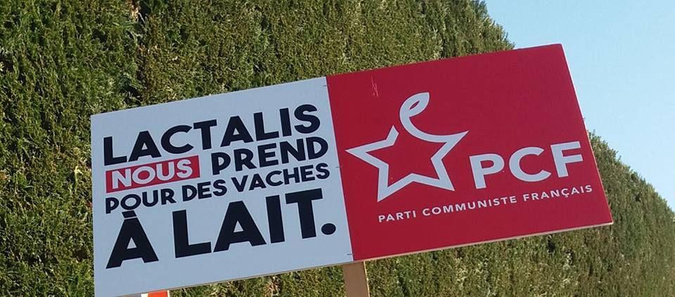 Lactalis: nous ne sommes pas des vaches à lait: action des candidats aux Européennes du PCF au siège de Lactalis à Laval