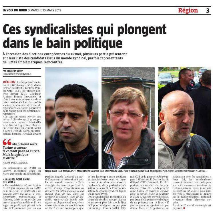 Syndicalistes de choc - ils se battent avec le PCF pour défendre les intérêts des travailleurs en Europe: Frank Saillot, Marie-Hélène Bourlard, Nacim Bardi (La voix du nord)