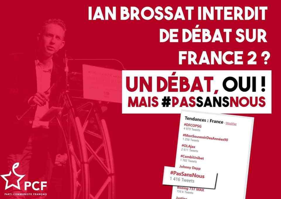 EUROPEENNES : LE PCF PAS INVITE AU DEBAT SUR FRANCE 2, IAN BROSSAT PROTESTE (12 mars 2019)