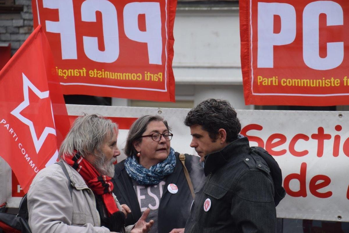 Paul Dagorn, Catherine Tréanton et Ismaël Dupont - photo Pierre-Yvon Boisnard manifestation du 19 mars 2019 à Morlaix