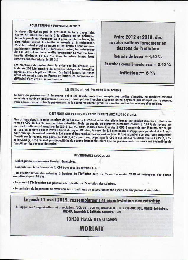 La CGT retraités et l'intersyndicale des retraités appellent à manifester le jeudi 11 avril 2019 - 10h30, place des otages
