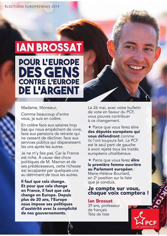 Le 26 mai, votez pour l'Europe des gens contre l'Europe de l'argent avec la liste conduite par Ian Brossat