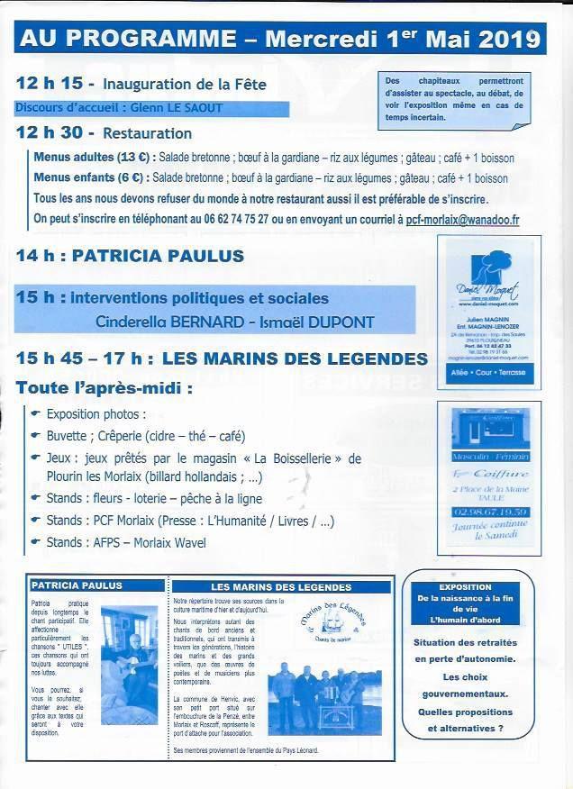 Dans 8 jours, la fête du Viaduc du PCF Morlaix le mercredi 1er mai place Allende: demandez le programme!