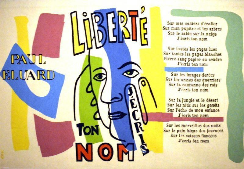Représentation du poème d'Eluard Liberté, peinture sur toile par Fernand Léger