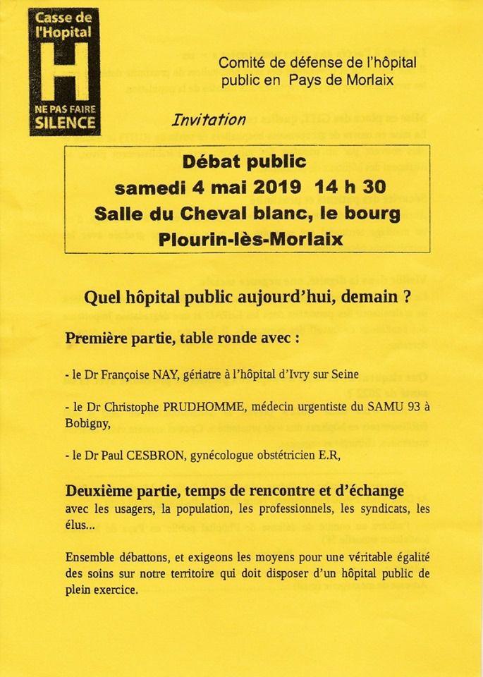 Débat santé - Quel hôpital public aujourd'hui, demain? - Samedi 4 mai, 14h30 à la salle du Cheval Blanc à Plourin-les-Morlaix