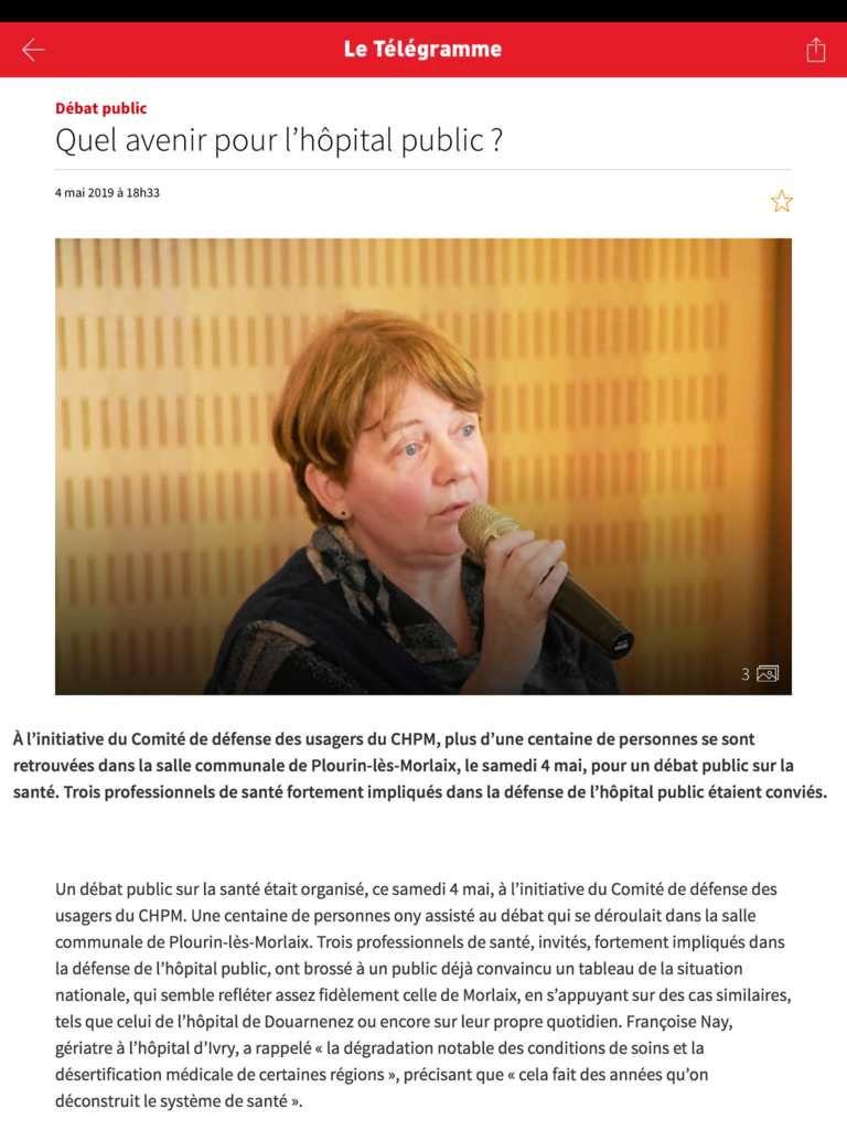 Réunion publique pour la défense de l'hôpital Public à Plourin les Morlaix le 4 mai 2019 - photo Télégramme