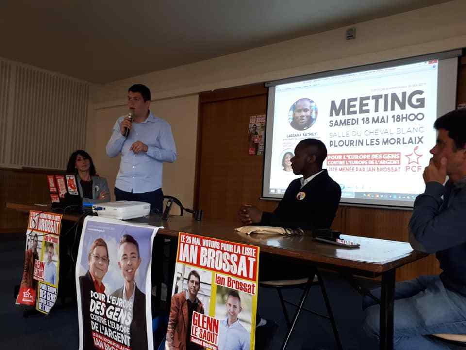 A Plourin-les-Morlaix le 18 mai avec Lassana Bathily, président du comité de soutien de Ian Brossat, et Cindérella Bernard