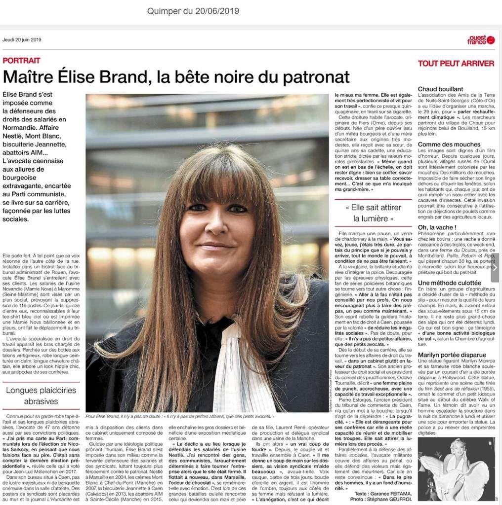 Maître Elise Brand, avocate spécialiste en droit du travail, adhérente PCF, la bête noire du patronat (Ouest-France, pages Bretagne, jeudi 20 juin 2019)