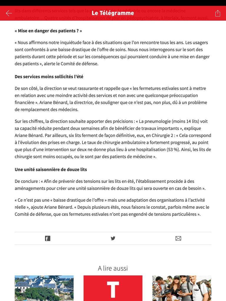 Le comité de défense de l'hôpital de Morlaix interpelle les usagers et la direction de l'hôpital sur les conséquences de la fermeture de 41 lits pendant l'été (Le Télégramme, 8 juillet 2019)