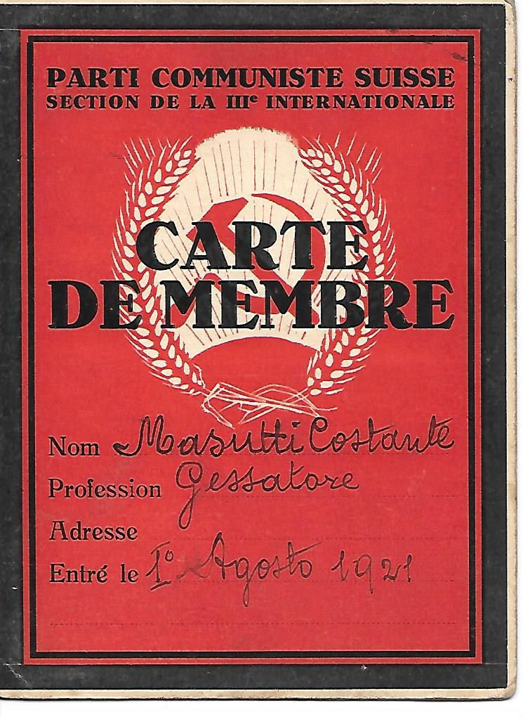 """Carte du Parti Communiste Suisse en 1921 - Costante Masutti, """"Gessatore"""" (archives Bérénice Manach)"""