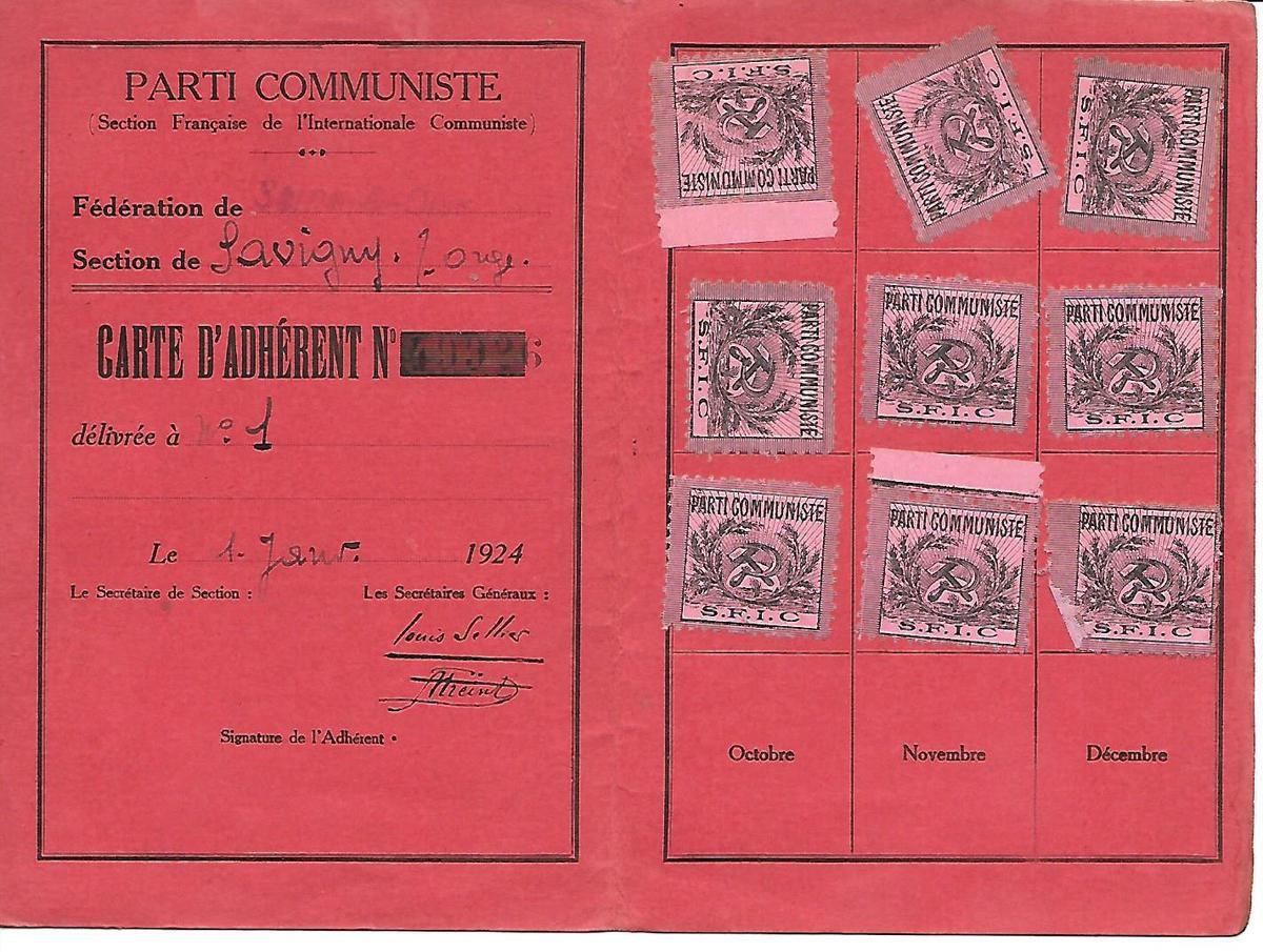 Carte du Parti Communiste (SFIC) en 1924 - Costante Masutti (archives Bérénice Manac'h)