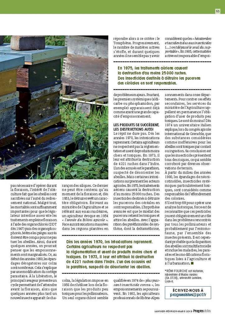 """ABEILLES : 140 ANS DE MASSACRE ENTOMOLOGIQUE (""""Progressistes - revue PCF - Janvier février Mars 2019)"""