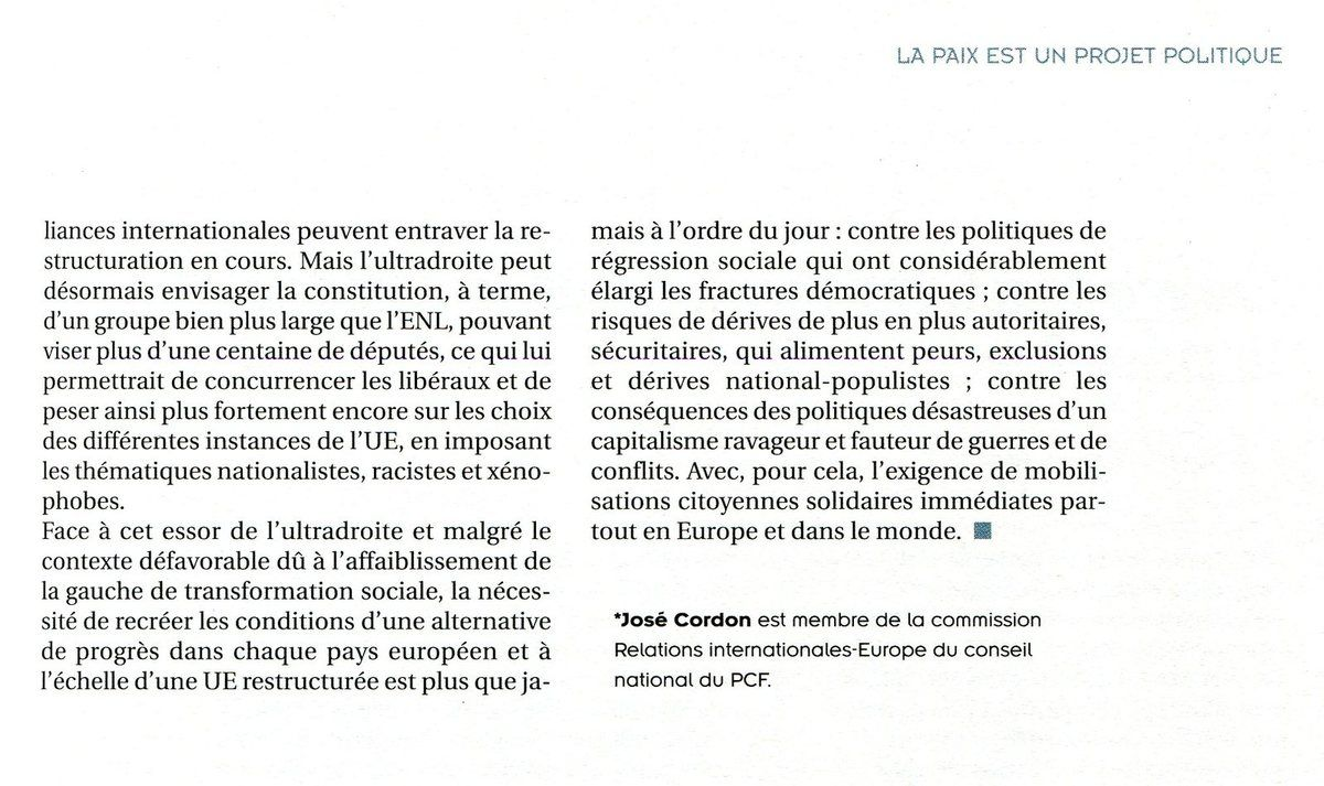 """L'ESSOR DE L'ULTRA DROITE EN EUROPE ET LES ELECTIONS EUROPÉENNES (""""Cause Commune"""" - Juillet Août 2019 - revue d'Action politique du PCF)"""