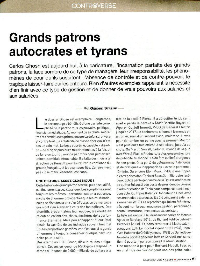 """GRANDS PARTONS AUTOCRATES ET TYRANS (""""Cause Commune"""" - JUILLET AOÛT 2019 6 Revue d'action politique du PCF)"""