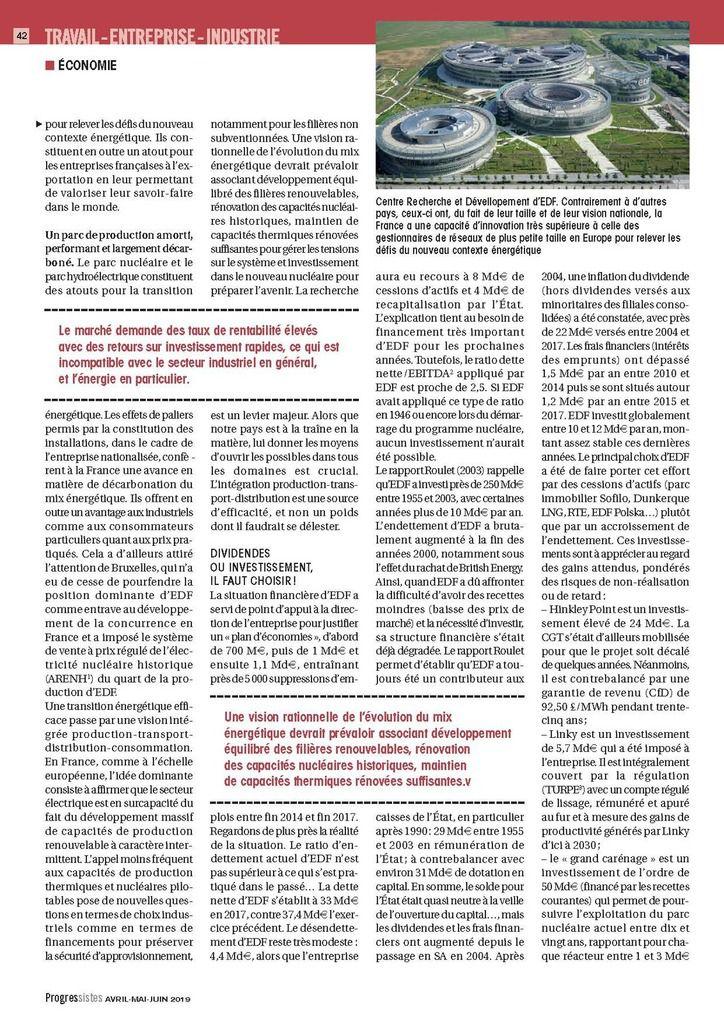 """LA SCISSION D'EDF : UNE MAUVAISE IDÉE (""""Progressiste"""" - revue PCF)"""
