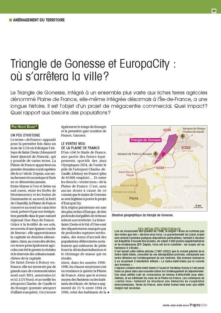 """TRIANGLE DE GONESSE ET EUROPA CITY : OU S'ARRÊTERA LA VILLE ? (""""Progressistes"""" - Avril mai juin 2019 - revue PCF)"""