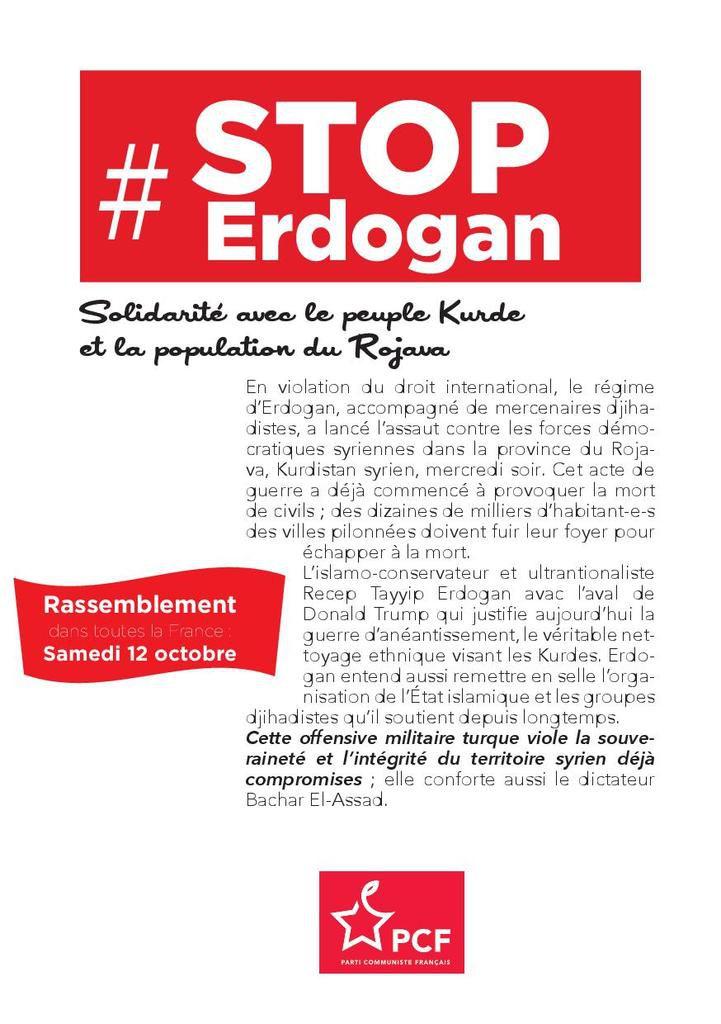 STOP ERDOGAN - Solidarite avec le peuple Kurde et la population du Rojava