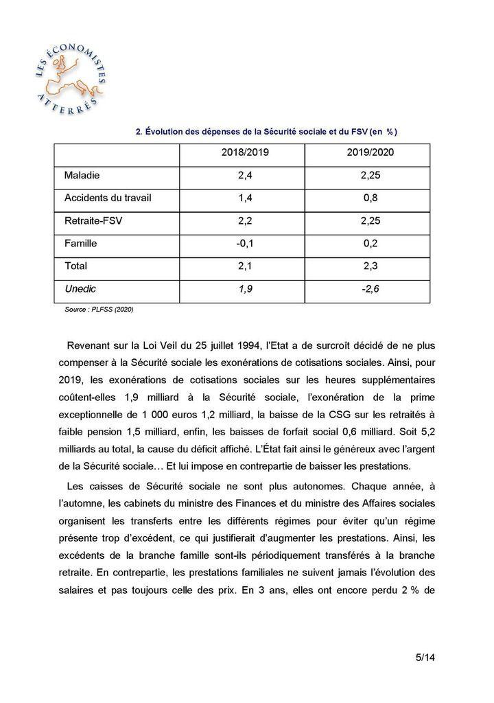 Le déficit de la Sécurité sociale, un mensonge d'Etat 21 Octobre 2019 - Henri Sterdyniak (Economistes Attérés)