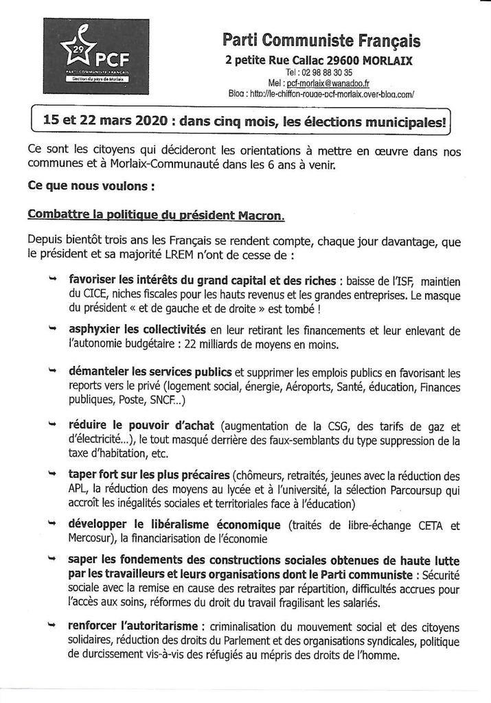 Tract du PCF Pays de Morlaix pour les élections municipales - distribué déjà le 19 octobre sur le marché de Morlaix